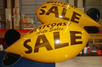 helium balloon blimps - 11 ft. helium blimp with logo - from $725.00 - plain blimps from $461.00